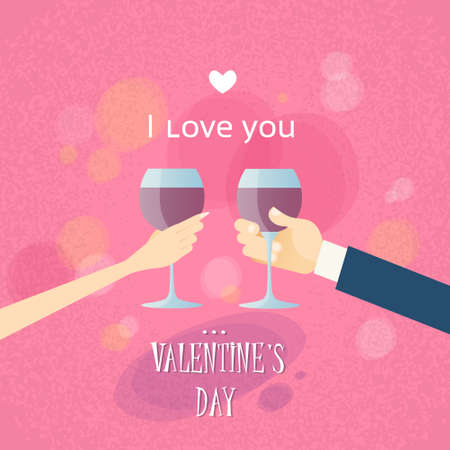 toasting wine: Valentine Day Greeting Toast Two Hands Hold Glasses Wine Flat Vector Illustration