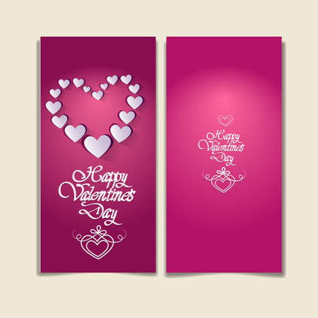 back and forth: Pink Valentine Day Gift Card Holiday Love Heart Shape Flat Icon Vector Illustration