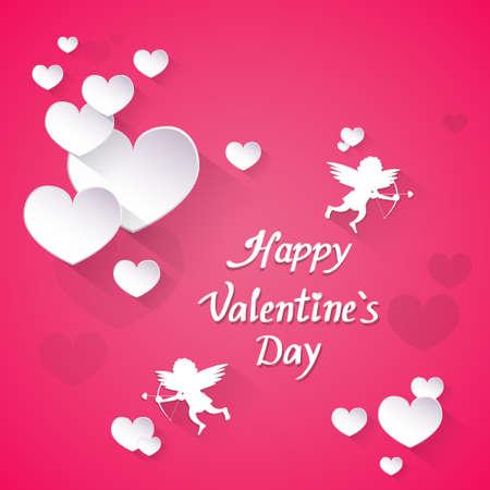 Rosa Valentinstag-Geschenk-Karte Feiertags-Liebes-Herz-Form-Engel Wohnung Symbol Vektor-Illustration