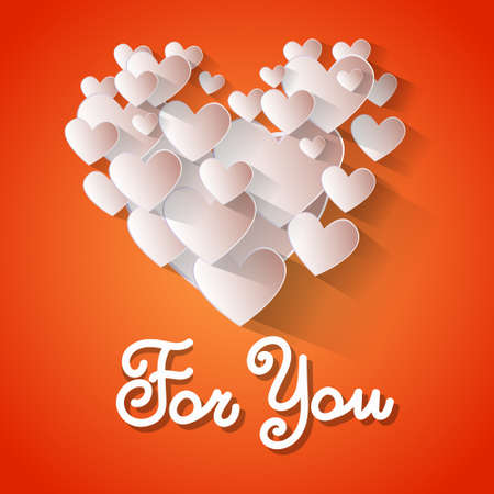 holidays for couples: Love Heart Shape Valentine Day Greeting Card For You Vector Illustration Illustration