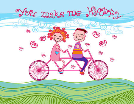 tandem bicycle: Couple Love Ride Tandem Bicycle Heart Shape Vector Illustration