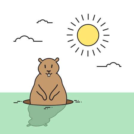wake up happy: Groundhog Day Animal Wake Up Spring Holiday Flat Vector Illustration