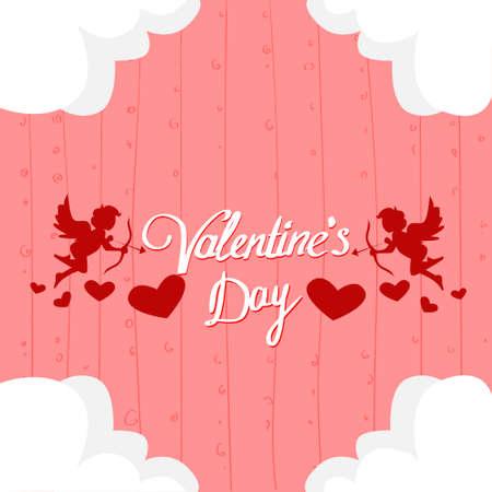 Valentine Day Gift Card Holiday Love Heart Shape Angel Flat Icon Vector illustration Illustration