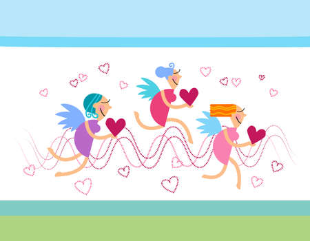 amur: Valentines Sketch Hand Draw Doodle Angels Vector Illustration