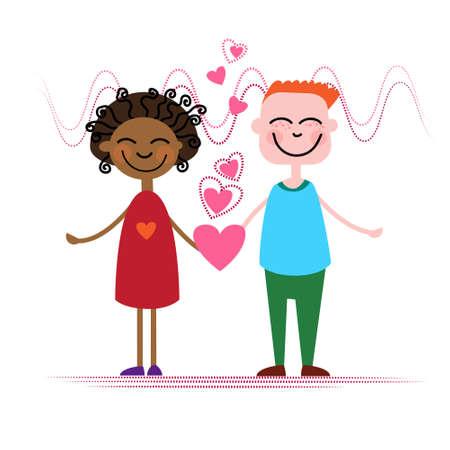 mix race: Mix Race Couple Hold Heart Shape Love Vector Illustration