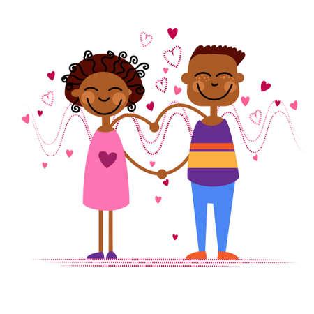 african american couple: African American Couple Hold Heart Shape Love Vector Illustration