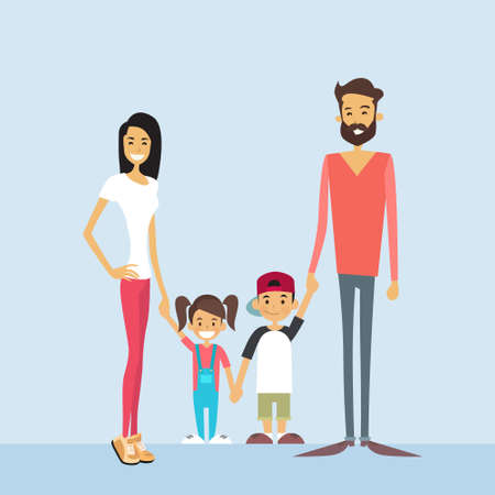 two children: Happy Family Four People, Parents With Two Children Holding Hands  Vector Illustration Illustration
