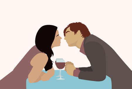 dinner date: Couple Sitting Cafe Table Drink Vine Kiss Romantic Love Silhouettes Dating Vector Illustration