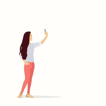 smart girl: Silhouette Asian Girl Taking Selfie Photo On Smart Phone Vector Illustration