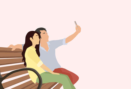 smart girl: Silhouette Couple Man Girl Taking Selfie Photo On Smart Phone Sitting On Bench Vector Illustration