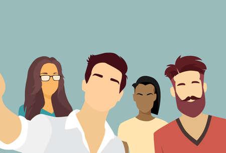 mix race: People Group Taking Selfie Photo On Smart Phone Mix Race Vector Illustration Illustration