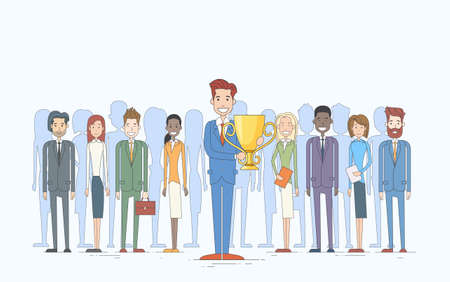 business competition: Business Man Get Prize Cup Businesspeople Group Team Leader Success Concept Vector Illustration