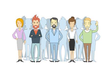 Group of Business People Casual Crowd Man and Woman Vector Illustration