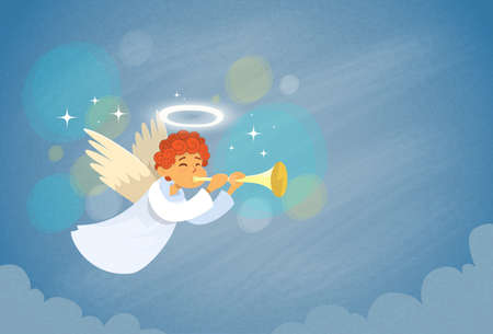 aureole: Valentines Angel Cupid Holding Flute Saint Valentine Holiday Heart Vector Illustration