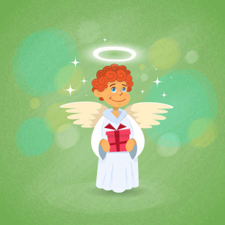 amur: Valentines Angel Cupid Holding Present Saint Valentine Holiday Vector Illustration