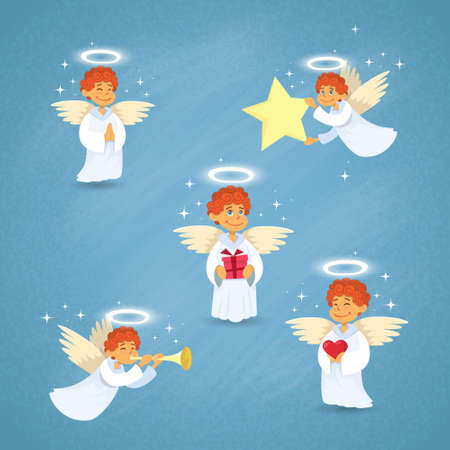 aureole: Valentines Angel Cupid Cartoon Character Group Saint Valentine Collection Set Holiday Vector Illustration Illustration
