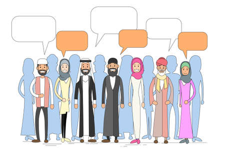 discussing: Muslim People Group Talking Discussing Chat Communication Social Network Man and Woman Traditional Clothes Arabic Indian Characters Vector Illustration Illustration