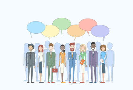 discussing: Business People Group Talking Discussing Chat Communication Social Network Vector Illustration Illustration
