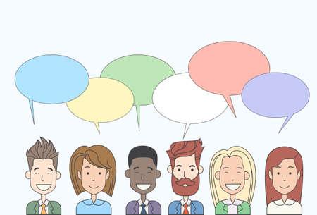 Los hombres de negocios de dibujos animados Grupo Hablar Hablar Ilustración Chat Comunicación Iconos de red social Vector