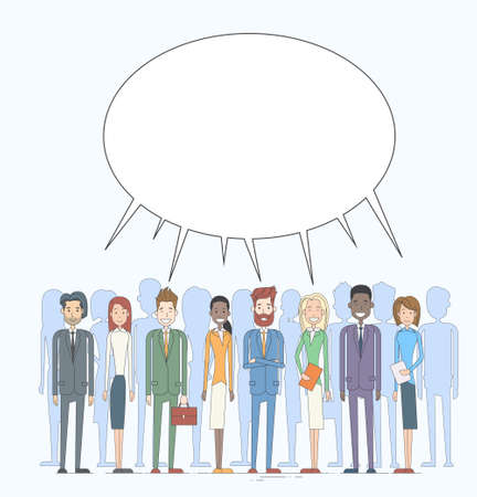discussing: Business People Group Chat Communication Bubble Concept, Businesspeople Talking Discussing Social Network Vector Illustration