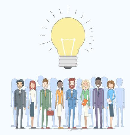 fila de personas: Idea de Negocio La gente grupo ilustración del concepto de la bombilla del vector