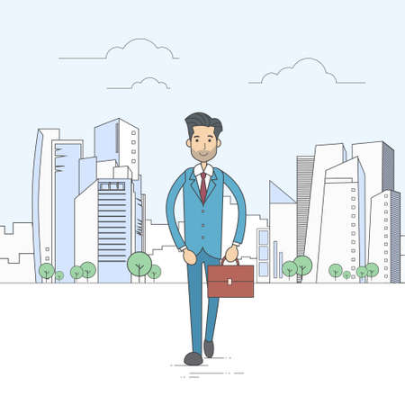 boss and employee: Businessman Walking Street City Skyscraper Cartoon Business Man Suit Briefcase Vector Illustration