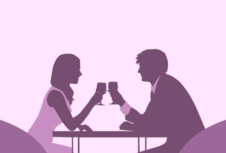 dinner date: Couple Sitting Cafe Table Romantic Love Violet Color Silhouettes Dating Vector Illustration