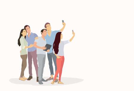 mix race: People Group Silhouette Taking Selfie Photo On Smart Phone Mix Race Vector Illustration Illustration