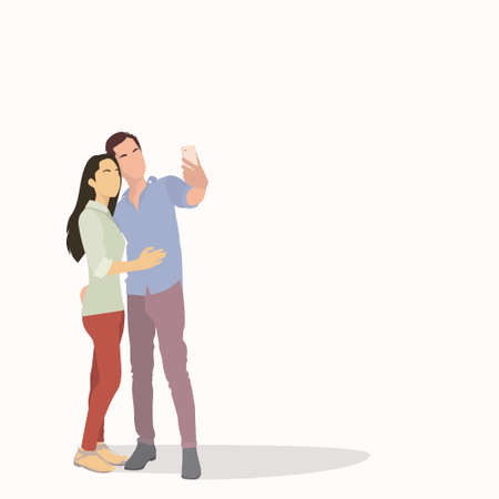 smart girl: Silhouette Couple Man and Girl Taking Selfie Photo On Smart Phone Vector Illustration