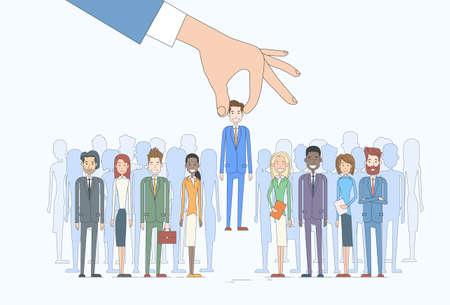 Recruitment Hand Pflücken Eine Person Kandidat Gruppe Vektor-Illustration