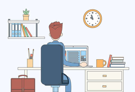 study table: Business Man Sitting Desk Office Working Place Laptop Back Rear View  Vector Illustration Illustration