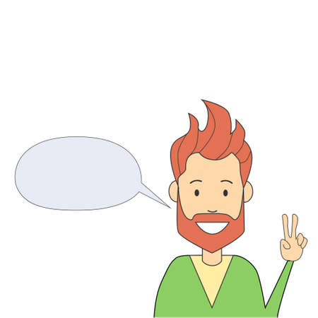 two finger: Man Hipster Hand Point Two Finger Up Peace Gesture Isolated Empty Chat Box Vector Illustration Illustration