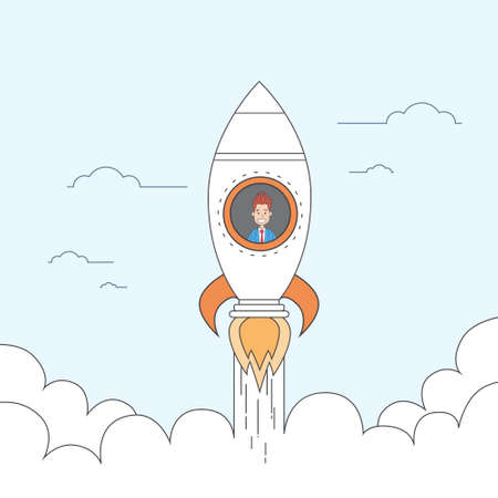 fly up: Rocket Fly Sky Business Man Start Up Success Concept Vector Illustration