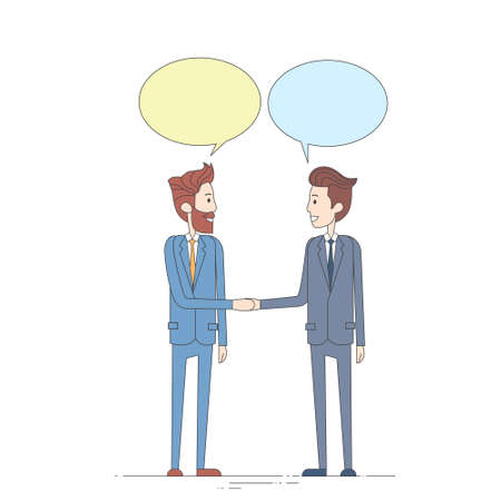 chat box: Two Businessman Hand Shake Talking Chat Box Bubble Communication Concept, Business Man Handshake Vector Illustration Illustration