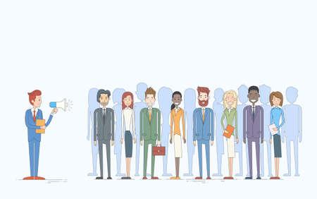 colleagues: Businessman Boss Hold Megaphone Loudspeaker Colleagues Business People Team Leader Group Businesspeople  Vector Illustration