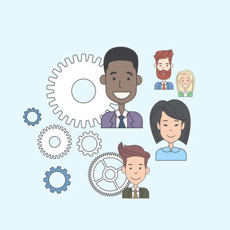 mixed race girl: Business People Group Cog Wheel Concept Teamwork Vector Illustration
