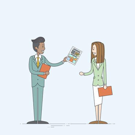 document file: Businessman Give Businesswoman Paper Document File Business People Vector Illustration Illustration