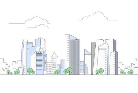 Modern City Megalopolis View Skyscraper Cityscape Vector Illustration