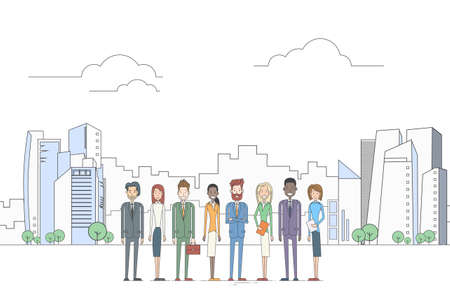 coworkers: Business People Group Executives Team Coworkers Over Big City View Vector Illustration
