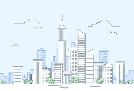 megalopolis: Modern City Megalopolis View Skyscraper Cityscape Vector Illustration