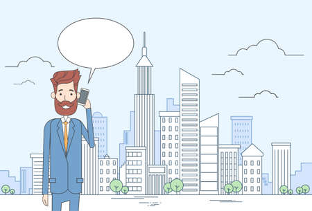 talk big: Business Man Smart Cell Phone Talk Businessman Chat Bubble Communication Over Big City View Vector Illustration Illustration