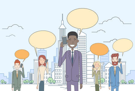 woman cell phone: Businesspeople Group Smart Cell Phone Talk Chat Bubble Communication Over Big City View Vector Illustration