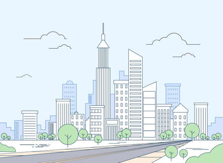 city panorama: Road to Modern City View Skyscraper Cityscape Vector Illustration