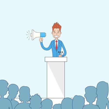 tribune: Businessman Hold Megaphone Loudspeaker Stand Tribune Speech Vector Illustration