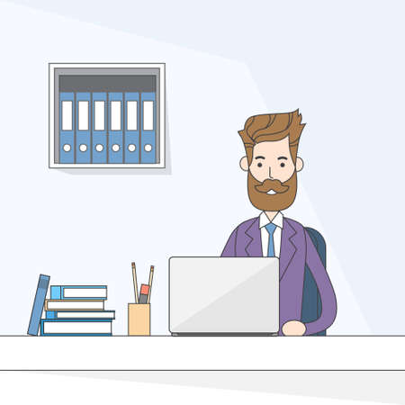 office computer: Business Man Sitting Desk Working Laptop Computer Vector Illustration