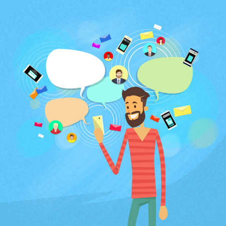cell phones: Man Chatting Texting, Social Network Communication Flat Vector Illustration Illustration
