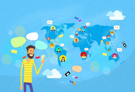 texting: Man Chatting Texting, Social Network Communication Concept World Map Coworking Flat Vector Illustration Illustration