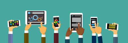 Group Hands Holding Smart Cell Phone Tablet Computer, Technology Concept Flat Vector Illustration Vettoriali