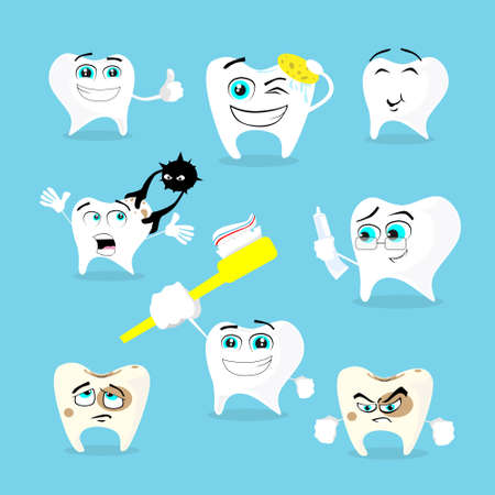 feeling bad: Teeth Dental Health Care Set Collection Flat Vector Illustration Illustration