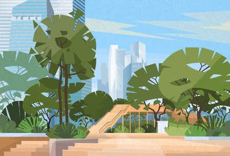 green park: Green Park City Center Trees Vector Illustration